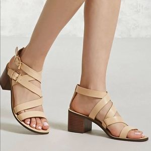 Shoes - NWT Strappy Faux Leather Nude Heels 7